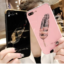 Wholesale Wholesale Quill Feathers - High Quality Luxury Quill Pen Mirror Soft Cover Case For Iphone X Fashion Feathers Phone Cases For Iphone 6 7 8 Plus