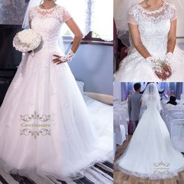 Wholesale Elegant Fall Skirts - Elegant Tulle Jewel Neckline A-line Illusion Short Sleeves Wedding Dress with Lace Appliques Beaded Bridal Wedding Gowns