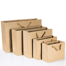 Trage taschen griffe online-Einfache Kraftpapier-Tasche mit Griff-E-co-Fertigkeit-Papier-Einkaufstaschen tragen, die Logo-Brown-Papiertüte drucken