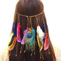 Wholesale Hair Accessories Christmas - Hand Made Indian National Peacock Feather Hairbands Woman Bohemia Headbands Female Travel Tassel Hair Accessory drop shipping 120025