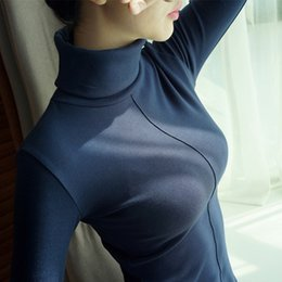 turtle neck women s tops Sconti Moda Donna Autunno Inverno Maglioni Slim Fit Turtle Collo Pullover di base manica lunga Femme femminile Top Tees FS5770