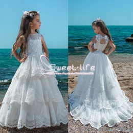 Wholesale graduation dresses china - 2018 Trintity White Flower Girl Dresses Jewel Neck Hollow Back Kids Wedding Dress From China Tiered Skirts Lace Girls Pageant Communion Gown