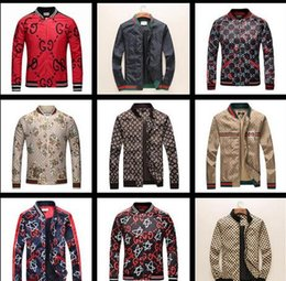 Wholesale Plus Size Spring Outerwear - 2018 Brand Designer Luxury Mens Jackets New Fashion Casual Printed Outerwear Coats Plus Size Black Red Sportswear Zipper Spring Autumn