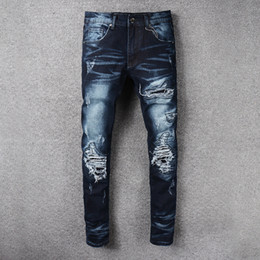 Wholesale Bind Fly - European Arcade High Car Jeans Male Tide Blue Black Holes Self-cultivation Bound Feet Micro Bomb Trousers rock revival true brand