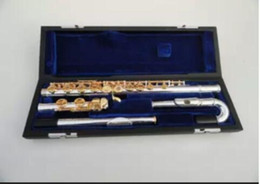 Flautas de oro online-Nuevo YFL-471 Instrumento musical de 16 agujeros E llave de apertura Música C Oro plateado flauta Rendimiento Envío gratis