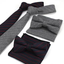 Wholesale Neckties Pocket Squares - High Quality Lot 3PCS ( Ties Bowtie Pocket Square ) Men's Neck Tie Set Striped 100% Cotton Skinny Slim Necktie Bow Hankies Sets