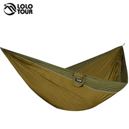 Wholesale Hanging Chair Furniture - Big-Size Double Hammock For 2 Lightweight Portable Hanging Bed Durable Camping Travel Swing Chair Nylon Outdoor Furniture