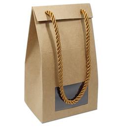 10pcs papier kraft avec fenêtre transparente remise boîte à main avec la ficelle de mariage boîte de fête de graduation bonbons boîtes d'emballage de chocolat livraison gratuite ? partir de fabricateur