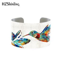 Vögelmanschette online-2018 Trendy Hummingbird Jewelry Cuff Bracelet Wide Metal Bangle With Humming Birds Silber verstellbare Manschetten Geschenke