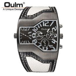 Oulm composer une montre en Ligne-Oulm 1220 Montres Hommes Sport Casual En Cuir PU Montre-Bracelet Visage convexe Large Bracelet Décoratif Petits Cadrans De Luxe Homme Montre À Quartz