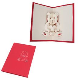 Wholesale Greeting Arts - 1PC Cute 3D Bear Pop Up Holiday Cards Greeting Card Handmade Birthday Wedding Postcard Craft Art H06