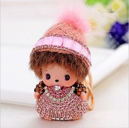 Wholesale fairy knitting - fashion vision crystal gold plated knitted hat girl baby key chain rings car pendant jewelry model no. kj0006