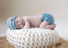 Wholesale photo props kit - HOT Sellers Bucket   Posing Pillow Photography Prop Crochet Empty Hollow Pillow Bean Bag Photo Prop Infant Kit 11 color