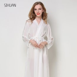 vestidos florais da dama de honra Desconto SIHUAN Casamento De Cetim De Seda Da Dama De Honra Da Noiva Roupão de Banho Floral Kimono Curto Noite Robe Robe Roupão de Banho Da Moda Roupão