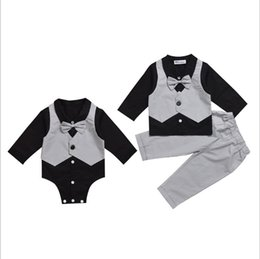 Wholesale Boys Stripe Collared Shirts - Vieeoease Boys Gentleman Sets Baby Clothing 2018 Spring Long Sleeve Bow Shirt + Stripe Pants 2pcs MA-072