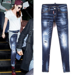 Wholesale Girl Effects - Hot Sale Paint Splattered Pre-Damaged Jeans Cool Girl Fit Fading Wash Effect Skinny Fit Denim Pants