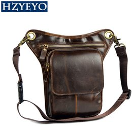 Wholesale Waist Pack Motorcycle - HZYEYO Men's Cowhide Oil Wax Geunine Leather Travel Motorcycle Messenger Shoulder Hip Belt Fanny Pack Waist Thigh Drop Leg Bag