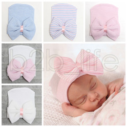 Wholesale baby bow hat - 5 Colors Baby Crochet Bowknot Hats Cute Baby Girl Soft Knitting Hedging Caps with Big Bows Warm Tire Cotton Cap For Newborn Infant AAA631