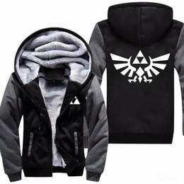 Trajes de anime de mujer online-Alta calidad The Legend Of Zelda Link hombres espesar con capucha mujer Anime Zipper Coat Jacket Coat sudadera Cosplay Plus
