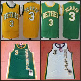 Wholesale Uniform High School - Bethel High School #3 Allen Iverson Jersey Green white College Basketball Jerseys Vintage Jersey Men Throwback Sport Uniform Embroidery jers