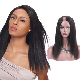 Wholesale side u part wig - Malaysian Virgin Hair Yaki Straight U Part Human Hair Wigs 1x3 Opening Size Right Side Part Non Lace Wig