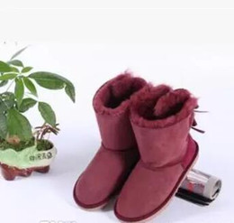 Wholesale Pink Ankle Boots Fur - New promotions 3280 FREE SHIPPING 2017 Christmas new Australian classic winter boots leather belly bow women's shells butterfly