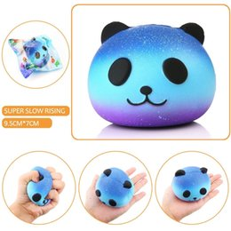 Wholesale big gels - Squishy 9cm Soft Silicone Squishi Panda PU Stress Relief Starry Gel Panda Reduced Pressure Cute Squishy Toy Hand Squeeze Pinch