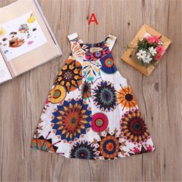Wholesale sunflower dress girls - INs Summer Sunflower Baby girls Dresses Girls Infant Cotton Sleeveless princess Dress Summer baby dress Printed Embroided dreses 2-8 years B