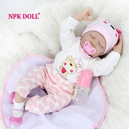 Wholesale Real Dolls Kids - NPKDOLL 55 CM Dolls Reborn Silicone Baby Dolls For Sale Lifelike For Girls Handmade Doll Baby Real Kids Playmate Gifts