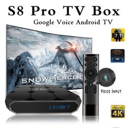 потоковое телевидение Скидка Оригинальный S8 PRO Google Voice Control Android 7.1 TV Box 2018 Новые поступления S905W Smart TV Streaming Box System