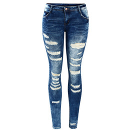Frauen köperhosen online-Damen Promi Style Fashion Blue Low Rise Skinny Distressed Gewaschen Stretch Denim Jeans für Damen Wholesale Ripped Pants
