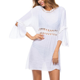 4108cf2174 Cover Up Lace Hollow Crochet suits for Beach Women 2018 Summer Ladies Cover-Up  Bathing Suit Beach Wear Tunic