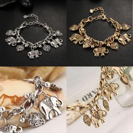pulseira bracelete de elefante Desconto Bohemian Moda Antigo Pulseira Elo Da Cadeia De Prata De Ouro Coração Elefante Encantos Pulseiras Pulseiras Para As Mulheres Jóias Presente de Natal D606S