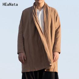 Chaqueta larga de lino del algodón de los hombres de alta calidad Chaqueta china del estilo de Kongfu Chaqueta de la cazadora del kimono flojo masculino de la sobretodo desde fabricantes