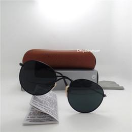 Branded circle sunglasses online-Glaslinse Runde Klassische Sonnenbrille Männer Frauen Markendesigner Kreis Unisex UV400 Spiegel 51 MM Outdoor Oval Metall Sonnenbrille Braun Fall Box