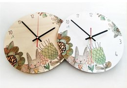 Wholesale cartoon wall watches - 4 Design Cartoon Wooden Wall Clock Watch Stickers Home Decor Bedroom Decoration Wall Mirror wallpaper Household Art and Craft Suppiles