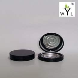 Wholesale black compact mirrors - Empty Eyeshadow Powder Case with Palette Pans, Black round Cosmetic Compact Mirror Container Makeup Aluminum