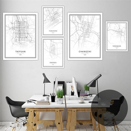 wholesale black art canvas Promo Codes - Digital Printing Wall Art Pictures World City Map Paintings Pattern Home Living Room Decor Canvas Painting Black White No Frame 35hd3 jj