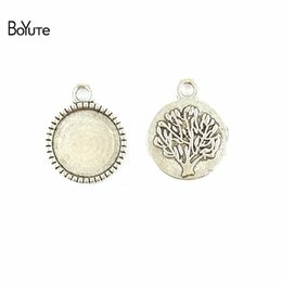 Wholesale Blank Accessories - BoYuTe (100 Pieces Lot) 14MM Cabochon Base Vintage Accessories Parts Antique Bronze Silver Tree Plate Blank Pendant for Jewelry Making Diy