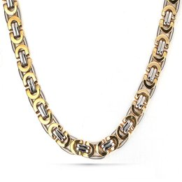 titanium stainless steel chain Canada - New Arrival Chunky Hip Hop Chains 8.8MM Wide 21inch Aureate Men Chain Titanium Stainless Steel Byzantine Mens Necklace Chain