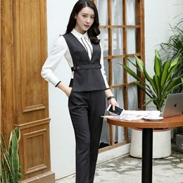 suit work wear for women Promo Codes - Formal Uniform Styles Fashion Striped Pantsuits Vest Coat And Pants For Ladies Work Wear Pant Suits Business Blazers Sets