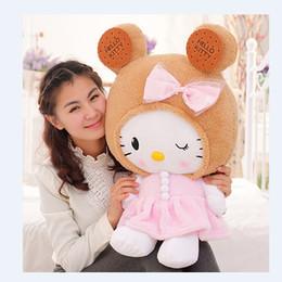 ciao bambola di peluche del gattino Sconti Cute Cookies Hello Kitty Cat bambola cuscini di pizzo regalo di compleanno all'ingrosso bebe Sleep Doll placare Baby giocattoli peluche