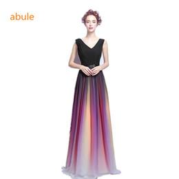 Long A-Line Evening Dresses Gradient Colorful Ombre Chiffon Prom Party  Gowns v-neck Vestido De Festa Robe De Soiree abule 089ebe4a6367