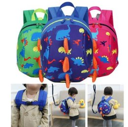 Wholesale kids harness backpack - 5 Colors Kids Safety Harness Backpack Leash Child Toddler Anti-lost Dinosaur Backpack Cartoon Arlo Kindergarten Backpacks CCA9275 20pcs