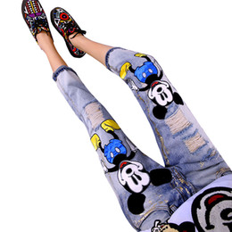 Wholesale denim brand jeans for women - LUCKY STAR Brand 2017 Fashion Cartoon Boyfriend Jeans for Women Vintage Girls Ripped Jeans Denim Pencil Pants A149