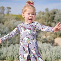 Wholesale Girls Long Tail Dress - Unicorn Printed Dress Colorful Tail Striped Round Neck Long Sleeve Baby Girls Dresses Breathable Summer Outfit 1-6T