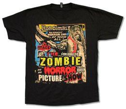 Image blanche de t shirt en Ligne-ROB ZOMBIE PICTURE SHOW NOIR NOUVEAU HORREUR OFFICIEL MERCH WHITE Nouveau T-shirt décontracté à manches courtes en métal