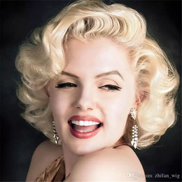 Wholesale Hair Wigs Nature - Marilyn Monroe Wigs Vintage Blonde Rose Hair Net Fashi Hair Short Nature Wave Curly Sexy Lady Cosplay Costume Halloween Party