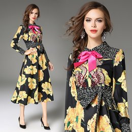 Wholesale Vintage Mosaic - 2018 Spring New High-End Embroidery Dress Women Fashion Mosaic Bow Printing Dresses Full Sleeve Plus Size 2XL Clothes Free Shipping