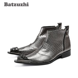 Wholesale Handmade Metal Motorcycles - Batzuzhi Japanese Style Handmade Men Boots Metal Pointed Toe Grey Genuine Leather Men Boots Ankle Party Wedding Botas Hombre!